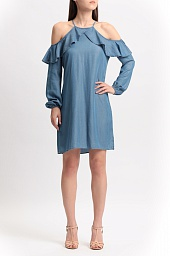 Платье Michael Kors Chambray Cold Shoulder Ruffle Dress