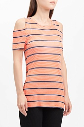 Футболка Michael Kors Striped Cold Shoulder Tee