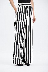 Брюки Alice + Olivia Benny Striped Wide-leg Pants