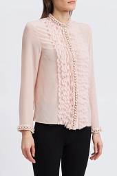 Блузка Alice + Olivia Arminda Embellished Ruffled Silk Blouse