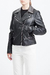 Куртка кожаная Michael Kors Studded Faux-Leather Jacket