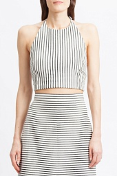 Топ Alice + Olivia Jaymee Stripe Halter Crop Top