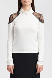 Водолазка Alice + Olivia Krystalle Lace-Shoulder Turtleneck