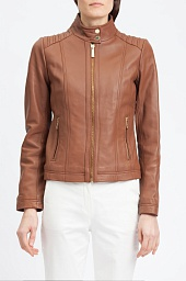 Куртка кожаная Michael Kors Stand Collar Leather Jacket