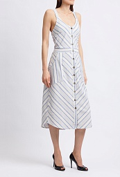 Платье Buckle Black Striped Midi Dress