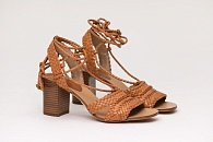 Сандалии Michael Kors Collection Lawson Woven Lace Up Block Heel Sandals