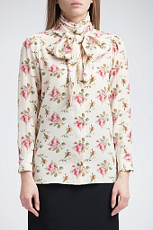 Блузка Gucci Rose Print Silk Tie Neck Blouse