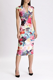 Платье Ted Baker London Odeela Floral Swirl Print Body-con Midi Dress