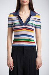 Поло Alice + Olivia Martha Stripe Ruffle Placket Polo