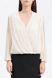 Блузка Alice + Olivia Axel Wrap-Effect Pleated Silk-Georgette Blouse