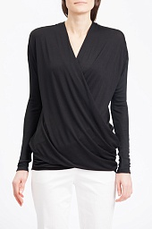 Блузка Alice + Olivia Air Black Draped Faux Wrap Top