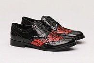 Туфли Dolce & Gabbana Francesina Lace-Paneled Leather Brogues