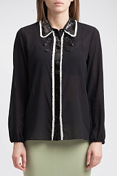 Блузка Alice + Olivia Gigi embellished silk-blend chiffon blouse