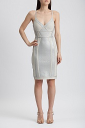 Платье Herve Leger Jener Crackled Metallic Foil Dress