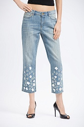 Джинсы укороченные Michael Kors Flower Embellished Cropped Jeans